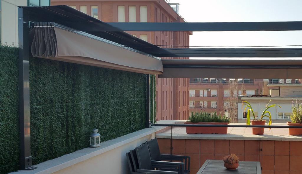 Toldos corredizos para terrazas perfect pergola de hierro for Toldos corredizos para terrazas
