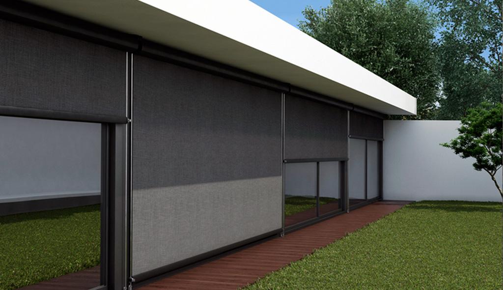Instalaci n en rub de dos toldos verticales screen nimbus de gaviota simbac tendals egara - Estores para balcones ...